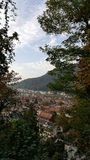 View over the red roofs of old town of Heidelberg from the hill. Heidelberg`s roofs view from the hill Stock Images