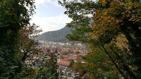 View over the red roofs of old town of Heidelberg from the hill. Heidelberg's roofs view from the hill Royalty Free Stock Image