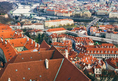 The view over the red roofs of Prague from the tower of the aint Stock Photos