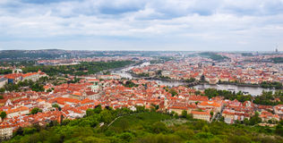 View over red roofs and river in Prague Stock Image
