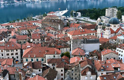 The view over red tiles roofs of the old center of Kotor, Monten Stock Photos