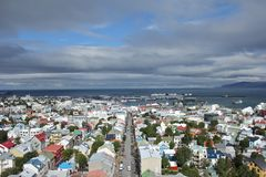 View over Reykjavik, Iceland. Scenic view from Halgrimskirkja church down on the city of Reykjavik, capital of Iceland Royalty Free Stock Image
