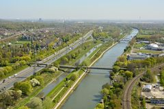 View over Rhein-Herne-Kanal in Oberhausen Royalty Free Stock Photography