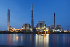 Coal Power Station At River Stock Photography