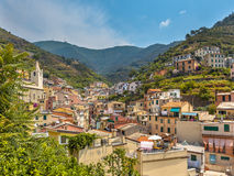 View over Riomaggiore, One of the Cinque Terre Villages in Italy Royalty Free Stock Image