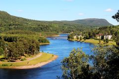 View over river  Angermanalven in Solleftea, Sweden. Stock Photo