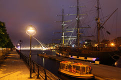 View over the river Liffey at night. Royalty Free Stock Photography
