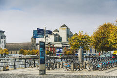 View over the river Liffey walk and the business district Royalty Free Stock Photography