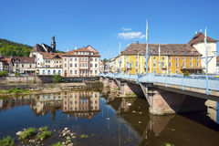 View over the River Murg to the old town of Gernsbach Stock Photo