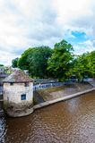View over River Ouse and bridge in the city of York, UK stock images