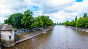 View over River Ouse and bridge in the city of York, UK Royalty Free Stock Image