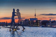 View over river Spree with Molecule Man and Media Spree Royalty Free Stock Photography