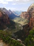 View over river valley in zion antional park Royalty Free Stock Photography