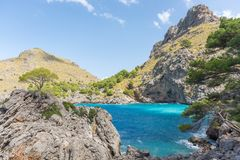 Fantastic bay in Sa Calobra with blue water and mountains stock image
