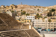 View over the Roman Theatre to Amman Downtown Royalty Free Stock Photography