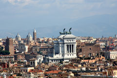 View over Rome. Digital photo of the skyline of Rome with the famous monument Vittorio Emanuele II Stock Photo