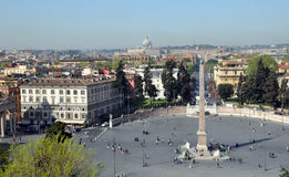 View over Rome from Borghese Gardens Italy stock photo