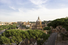 View over Rome to the Colosseum. View of Rome taken from above the historical centre Stock Photo