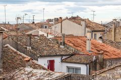 View over roofs of Aigues-Mortes town from fortifications stock photography