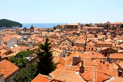 View over the roofs of Dubrovnik old town. Nice view over Dubrovnik old town from Croatia. All the roofs are made of classic brick-red tiles Stock Photography