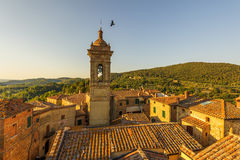 View over the roofs of the medieval village in Italy, Castelmuzi Royalty Free Stock Image