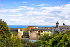 View over the roofs and the sea in the Scottish town of Kirkcald Royalty Free Stock Images