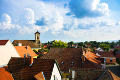 A view over the roofs of Szentendre, a little touristic town near Budapest. Hungary stock photos