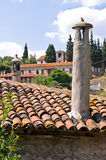 View over roofs of traditional greek mountain village at Sithonia Royalty Free Stock Photo