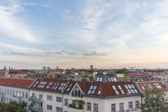 View over rooftops , city skyline at sunset Stock Photo