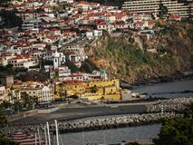 View over the rooftops in Funchal on the island of Madeira in the Atlantic Ocean. Funchal is the Capital of the island of Madeira. The distinctive houses and Royalty Free Stock Photography