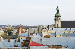 View over the rooftops of the old city of Lvov Royalty Free Stock Photography
