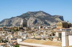 View over the rooftops of the old city and mount San Pellegrino. Stock Photos