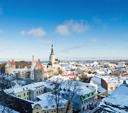 View over the rooftops of old Tallinn frosty morning Royalty Free Stock Images