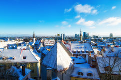 View over the rooftops of old Tallinn frosty morning Stock Images