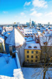 View over the rooftops of old Tallinn frosty morning Stock Image