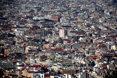 View over rooftops of the old town area. Over the roofs of Barcelona, Spain stock images