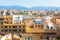 View over the rooftops of Palma de Mallorca with the mountains in the background from the terrace of the Cathedral of Santa Maria. Of Palma, also known as La Stock Photography