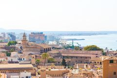 View over the rooftops of Palma de Mallorca with the sea in the background from the terrace of the Cathedral of Santa Maria of Pal. Ma, also known as La Seu Royalty Free Stock Image