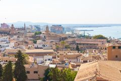 View over the rooftops of Palma de Mallorca with the sea in the background from the terrace of the Cathedral of Santa Maria of Pal. Ma, also known as La Seu Royalty Free Stock Photo