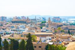 View over the rooftops of Palma de Mallorca with the sea and the mountains in the background from the terrace of the Cathedral of. Santa Maria of Palma, also Stock Images