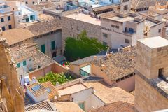 View over the rooftops of Palma de Mallorca from  the terrace of the Cathedral of Santa Maria of Palma, also known as La Seu. Palma, Majorca, Spain Stock Images