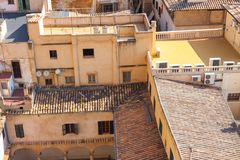 View over the rooftops of Palma de Mallorca from the terrace of the Cathedral of Santa Maria of Palma, also known as La Seu. Palm. View over the rooftops of Royalty Free Stock Image