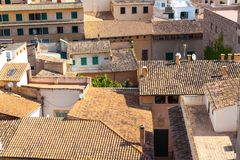 View over the rooftops of Palma de Mallorca from  the terrace of the Cathedral of Santa Maria of Palma, also known as La Seu. Palm. View over the rooftops of Royalty Free Stock Photo