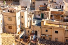 View over the rooftops of Palma de Mallorca from  the terrace of the Cathedral of Santa Maria of Palma, also known as La Seu. Palm. A, Majorca, Spain Royalty Free Stock Photo