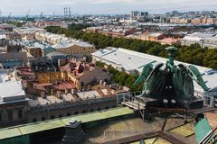 View over rooftops from St.Isaac`s Cathedral in St.Petersburg, Russia. Architecture. Stock Photo