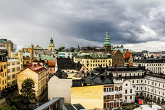 View over the rooftops and STADSMUSEUM in  Stockholm. Sweden. Stock Photography