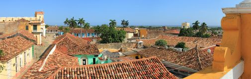 View over rooftops in Trinidad, Cuba Stock Photography