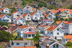 View over the rooftops of a village Royalty Free Stock Images