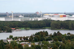 View over Rotterdam port and chemical industry Stock Images