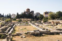 The Agora in Athens, Greece. View over the ruins of the Agora, a major landmark in Athens, the capital of Greece Stock Images